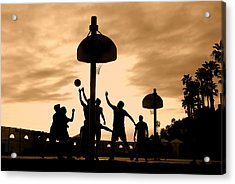 Basketball Players At Sunset Acrylic Print