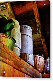 Acrylic Print featuring the photograph Baskets And Barrels In Attic by Susan Savad