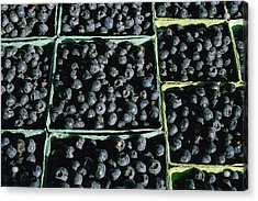 Baskets Of Blueberries Acrylic Print by Panoramic Images
