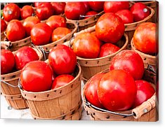 Baskets Of Tomatoes At A Farmers Market Acrylic Print by Teri Virbickis