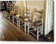 Baskets On Ladder Back Chairs Acrylic Print by Lynn Palmer