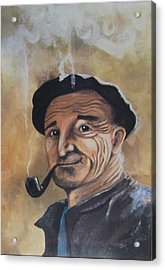 Acrylic Print featuring the painting Basque Man With Pipe by Cathy Long