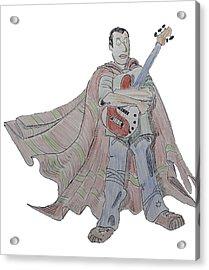 Bass Guitarist Cartoon Acrylic Print