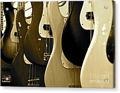 Bass Guitars  Acrylic Print by Sarah Mullin