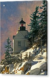 Acrylic Print featuring the painting Bass Harbor Light In A Winter Storm by Brent Ander