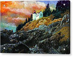 Acrylic Print featuring the painting Bass Harbor Lighthouse Sunset by Brent Ander
