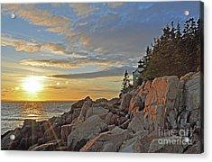 Acrylic Print featuring the photograph Bass Harbor Lighthouse Sunset Landscape by Glenn Gordon