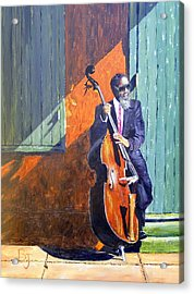 Bass Player In New Orleans Acrylic Print by Barbara Jacquin