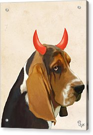 Basset Hound With Devil Horns Acrylic Print by Kelly McLaughlan
