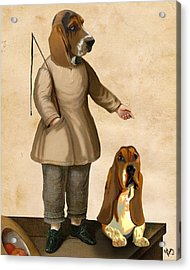 Basset Hounds Two Basset Hounds Acrylic Print by Kelly McLaughlan