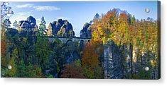Bastei Bridge In The Elbe Sandstone Mountains Acrylic Print