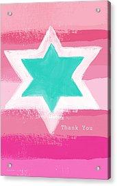 Bat Mitzvah Thank You Card Acrylic Print by Linda Woods