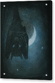 Bat With Crescent Moon Acrylic Print