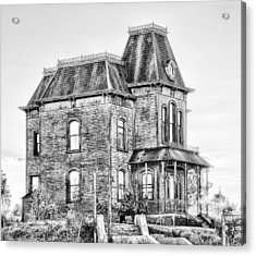 Bates Motel Haunted House Black And White Acrylic Print by Paul W Sharpe Aka Wizard of Wonders