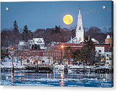 Bath Maine Moon Acrylic Print by Benjamin Williamson