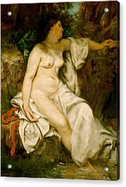 Bather Sleeping By A Brook Acrylic Print by Gustave Courbet