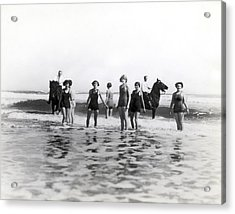 Bathers And Horses In The Surf Acrylic Print by Underwood & Underwood