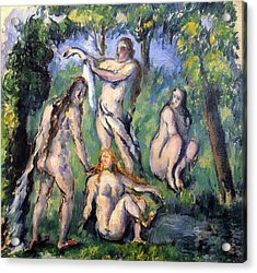 Bathers  By Cezanne Acrylic Print by John Peter
