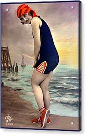 Bathing Beauty In Orange And Navy Bathing Suit Acrylic Print