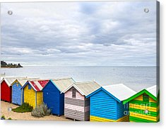 Bathing Huts Brighton Beach Melbourne Australia Acrylic Print by Colin and Linda McKie