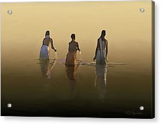 Bathing In The Holy River By Dominique Amendola Acrylic Print by Dominique Amendola
