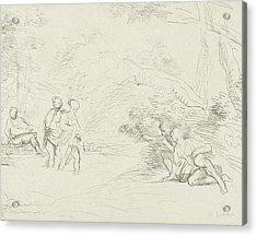 Bathing Women By Men Spied, Print Maker Charles Joseph Acrylic Print by Charles Joseph Emmanuel De Ligne And Guercino
