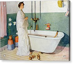 Bathroom Scene Lisbeth Acrylic Print by Carl Larsson