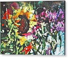 Batik Sunflower 1 Acrylic Print