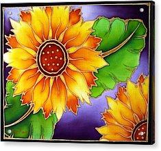 Batik Sunflower Acrylic Print by Kat Poon