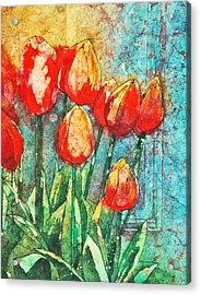 Batik Tulips Acrylic Print