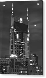 Batman Building Complete With Bat Signal Acrylic Print by Frozen in Time Fine Art Photography