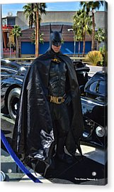 Batmobile And Batman Acrylic Print by Tommy Anderson