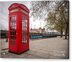 Battersea Phone Box Acrylic Print by Matt Malloy