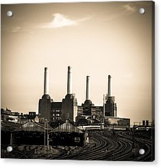 Battersea Power Station With Train Tracks Acrylic Print