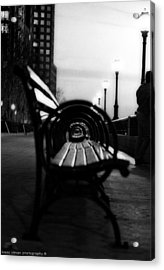 Battery Park Bench Acrylic Print by Isaac Silman