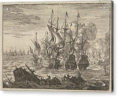 Battle Of Beachy Head, 1690, Jan Luyken, Pieter Van Der Aa Acrylic Print by Jan Luyken And Pieter Van Der Aa (i)