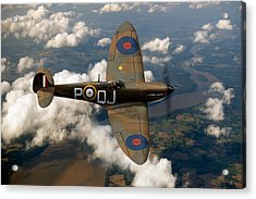 Battle Of Britain Spitfire Acrylic Print by Gary Eason