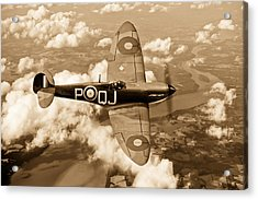 Battle Of Britain Spitfire Sepia Version Acrylic Print by Gary Eason