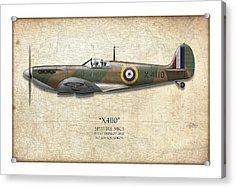 Battle Of Britain Spitfire X4110 - Map Background Acrylic Print by Craig Tinder