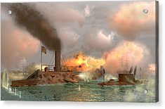 Battle Of The Ironclads Acrylic Print by Walter Colvin