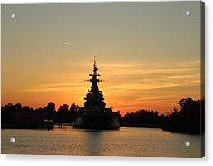 Acrylic Print featuring the photograph Battleship At Sunset by Cynthia Guinn