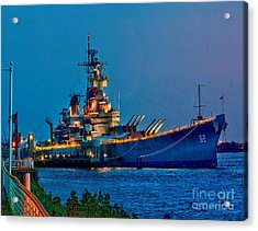 Battleship New Jersey At Night Acrylic Print