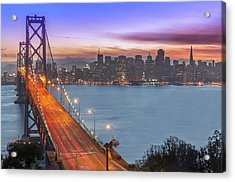 Bay Bridge And San Francisco Skyline At Acrylic Print by Spondylolithesis