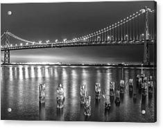 Bay Bridge Black And White Acrylic Print