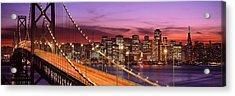 Bay Bridge Illuminated At Night, San Acrylic Print by Panoramic Images