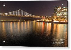 Acrylic Print featuring the photograph Bay Bridge Lights And City by Kate Brown
