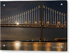 Bay Bridge Moon Rising Acrylic Print by Kate Brown