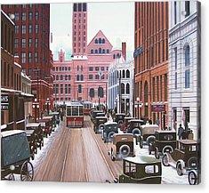 Bay Street Christmas Eve 1924 Acrylic Print by Kenneth M  Kirsch