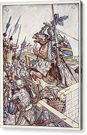 Bayard Defends The Bridge, Illustration Acrylic Print by Herbert Cole