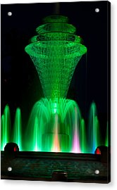 Bayliss Park Fountain Green Acrylic Print by Becky Meyer